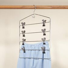 Sturdy 4 Tier Trouser Hanger 8 Clips Metal Skirt Pants Clothes Closet Organizer