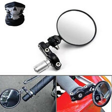 "Black Motorcycle 3"" Round 7/8"" 1""Handle Bar End Rearview Fold Mirrors For Suzuki"