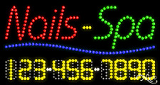 """NEW """"NAILS-SPA"""" 32x17 w/YOUR PHONE NUMBER SOLID/ANIMATED LED SIGN 25010"""