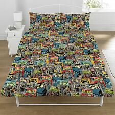 DOCTOR WHO COMICS RETRO DOUBLE DUVET COVER KIDS BEDDING OFFICIAL NEW FREE P+P