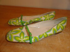 Women's Green Patent Leather TAPEET VICINI Summer Spring Ballet Flats Sz-11/41