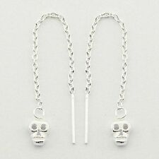 Sterling Silver Skull Threads Threaders Earrings Chain Real 925 Black Humour NEW