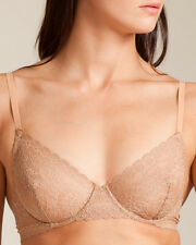 La Perla Rosa Collection 32D S Full Cup Bra Brazilian Brief Set Nude Lace New