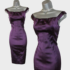 Karen Millen Dark Purple Satin Folded Neckline Stunning Wiggle Dress sz-8 EU-36
