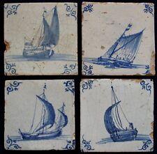 4 17th century Dutch delft delftware blue and white tiles carreau ships VOC