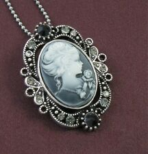Gray Stones Design CAMEO Necklace Chain Pendant Antique Silver Vintage Style 5b