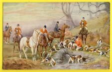 cpa Post Card Illustration Draw Signé H. HAMMOND CHASSE à COURRE HUNT Chasseurs