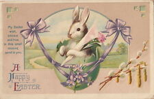 Postcard A Happy Easter Rabbit in Egg Purple Ribbon 1917