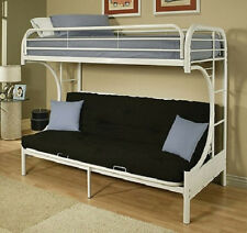 NEW Twin Over Full Futon Bunk Bed White Metal Loft Dorm - FREE SHIPPING