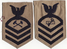 two american navy cloth   trade rank patches on khaki