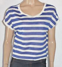 FOREVER 21 Designer Blue/Cream Short Sleeve Top Size L BNWT [su65]