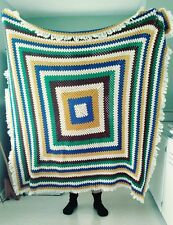 Vintage HANDMADE Crochet Afghan Colorful Granny Square Throw Quilt Blanket