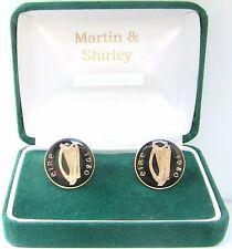 1980 Mancuernas hechas de vieja Irlanda Irlandés monedas en negro y dorado