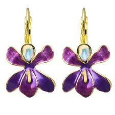 NEW KIRKS FOLLY AFRICAN QUEEN ORCHID LEVERBACK EARRINGS GOLDTONE