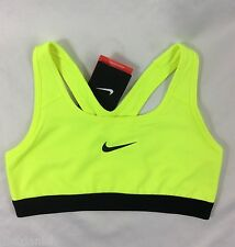 NIKE Pro Women's Sports Bra Medium Support Dri-Fit Neon Yellow Lime Size XS