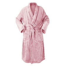 LUXURIOUS MICRO FAUX FUR MINK SHAWL COLLAR BATH ROBE GOWN WITH POCKETS & BELT