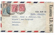 WW2 Jamaica Censor ID/6106 on Air Mail Cover Trans Atlantic Kingston to England