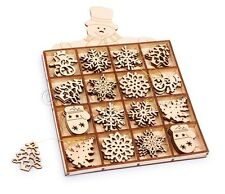 48 x Wooden Christmas/Xmas Tree Hanging Decorations Festive Gift Motifs