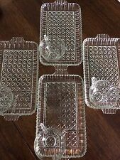 VINTAGE ARLINGTON DEPRESSION GLASS SIP AND SMOKE SNACK TRAY SET OF 4