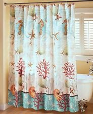 Barbados Nautical Shower Curtain Ocean Beach Starfish Shells Home Bathroom Decor