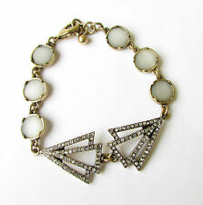 Bronze Silver Diamante Bracelet Faux Opal 1920s Flapper Great Gatsby Vtg 1846