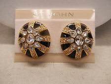 St. John Earrings Vintage Gold Black Enamel Sunburst Rhinestone Clip On