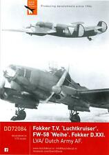 Dutch Decals 1/72 DUTCH FOKKER T.V FOCKE WULF Fw-58 and FOKKER D.XXI