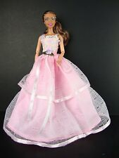 Pink Gown with Straps 2 Tiers of Large Eyelet Lace Made to Fit Barbie Doll