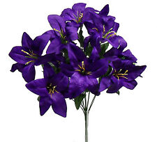 12 Tiger Lilies Lily DARK PURPLE Silk Wedding Flowers Bridal Centerpieces Decor