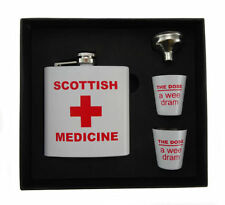 "SCOTTISH MEDICINE HIP FLASK IN GIFT BOX 2 X ""WEE DRAM"" CUPS & FUNNEL"