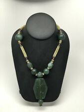 90.6g Afghan Turkmen Tribal Green Jade Nephrite Marquise Shape Bead Necklace,C17