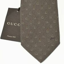 GUCCI Authentic New Silk Woven Designer Necktie Tie Stirrups Skinny w bag brown