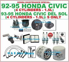 For 92-95 CIVIC 1.5L DEL SOL S TUNE UP KITS: SPARK PLUGS, WIRE SET, CAP & ROTOR