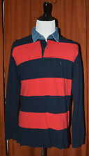 Polo Ralph Lauren Mens XL Long Sleeve Rugby Red Blue Stripe Denim Collar Shirt