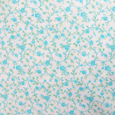 1/2 Yard, Quilting Sewing Fabric Country Cottage Calico Vine Flower, Pale Blue