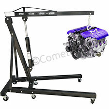 2 Ton Hydraulic Folding Engine Crane Workshop Garage Hoist lift Jack Stand Wheel
