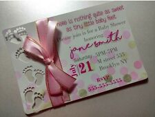 10 Baby Shower Invitations Cards Personalized for Girl with Cute Feet Pink