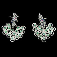 AWESOME GENUINE GREEN EMERALD,BLUE SAPPHIRE,RED RUBY 925 SILVER PEACOCK EARRINGS
