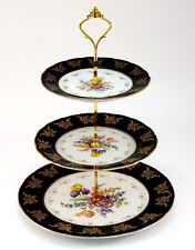 EURO Porcelain Cobalt Blue Floral 3-Tier Cake Stand 24K Gold, Candy Cupcakes
