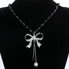 2016 Silver Plated Crystal Pearl Bow knot Pendant long chain Necklace jewelry