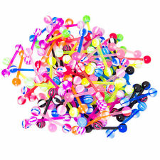 "100PC Flexi Acrylic Tongue Nipple Rings Barbells Mixed Styles 14g 5/8"" 16mm"