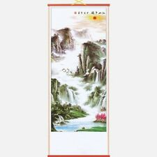 CHINESE WALL HANGING SCROLL, VALLEY LANDSCAPE, 82cm LENGTH, FREE UK P&P