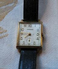 Wittnauer Rectangular Mens Watch Second Hand Dial Gold Case Wind Up New Band