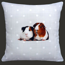 "CUSHION (pad included) CUTE GUINEA PIGS ON PALE GREY WHITE POLKA DOT 12"" PILLOW"