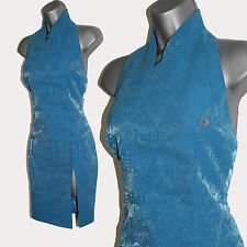 Karen Millen Gorgeous Blue Metallic Jacquard Print Oriental Style Dress sz-10/38