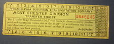 1940's PHILADELPHIA Suburban TRANSPORTATION Co. Train / Bus TICKET West Chester