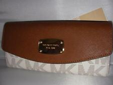 NEW MICHAEL KORS LADIES LEATHER WALLET SLIM FLAP VANILLA
