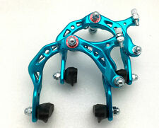 BICYCLE BIKE ALUMINUM SIDE PULL BRAKE CALIPER MTB BMX BLUE FRONT + REAR