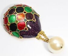 Vintage LARGE Multi Color Rhinestone Enamel Pearl Hot Air Balloon Brooch Pin