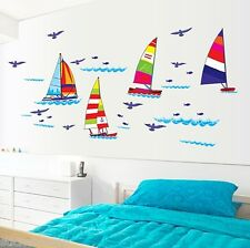 COLOURFUL SAILING BOAT SAILBOAT ROOM WALL STICKERS VINYL DECAL HOME DECORATION